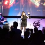 Pamela Falcon onstage at the Afterwork party at Rudas Studios