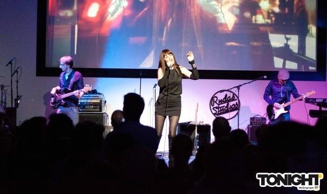 Pamela Falcon onstage at Rudas Studios