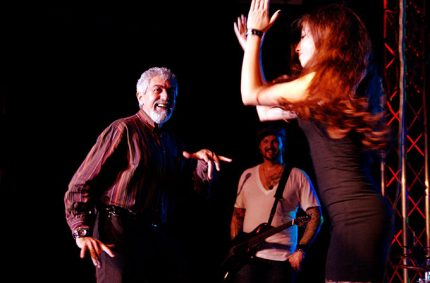 Our friends from Greece… Dad & his daughter Mary… dancing like fire on stage – photo by Manfred Rodewyck