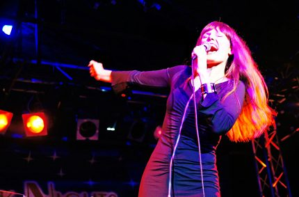 Pamela Falcon performing for a New York Nights show