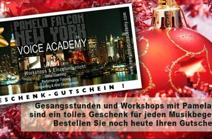 Weihnachten ist nicht mehr weit! Geschenk-Gutschein für Gesangsstunden und Workshops mit Pamela Falcon!