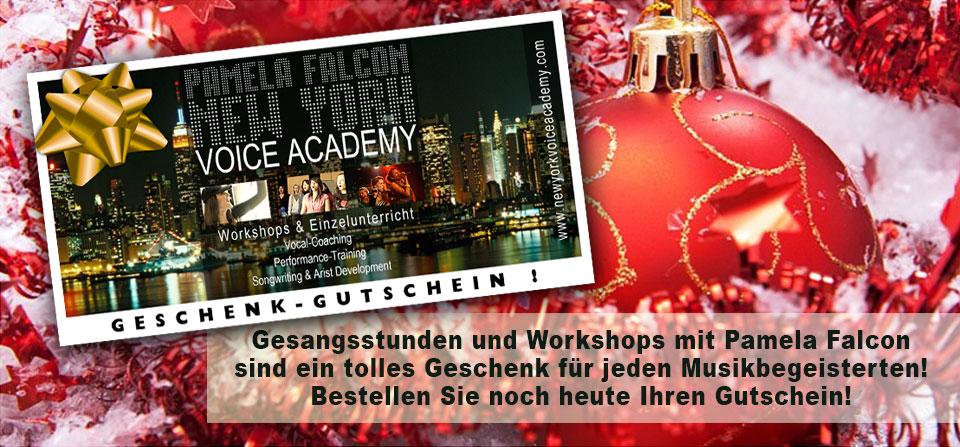 New York Voice Academy Geschenk-Gutschein -- Gesangsstunden und Workshops mit Pamela Falcon
