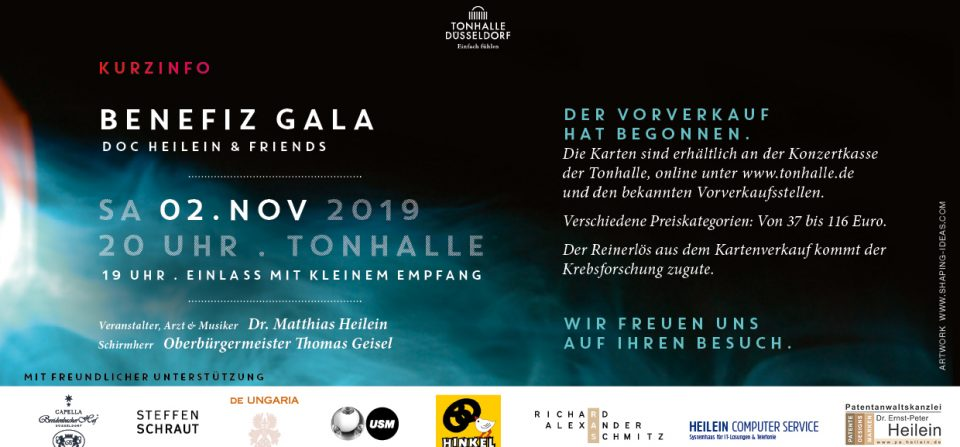 BENEFIZ-GALA WITH DOC HEILEIN & FRIENDS TONHALLE DÜSSELDORF 02.11